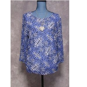 Chico's Blue & Black Print Ruched 3/4 Sleeve Top L